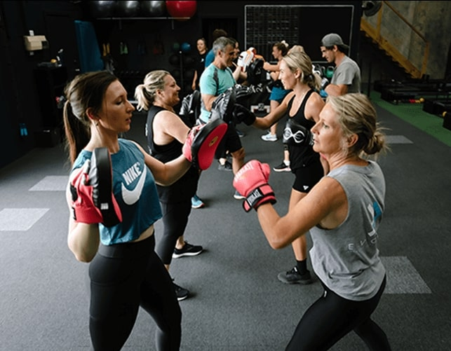 Men, Women and exercise trainers doing boxing workout
